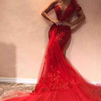 Gorgeous Mermaid One Shoulder Tulle Appliques Prom Dresses_2