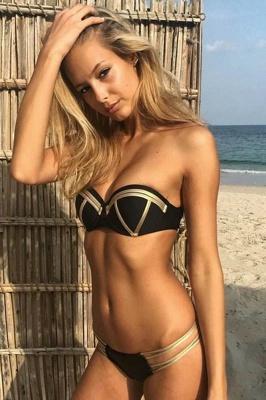 Shiny Black Bandage Sexy Bikini set with Shiny Gold Details_4