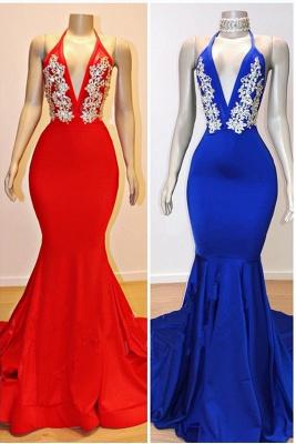 2021 Cheap V-Neck Mermaid Appliques Prom Dresses   Elegant Halter Sleeveless Evening Dresses_1