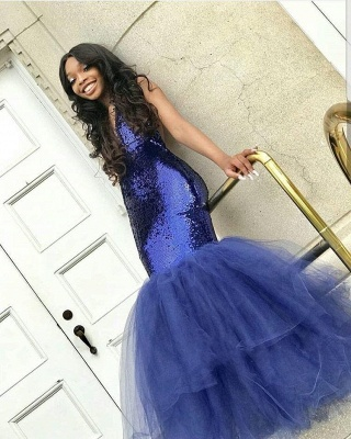 Sexy Navy Blue Mermaid Sequins Prom Dresses | Cheap Tulle Sleeveless V-Neck Evening Dresses_5