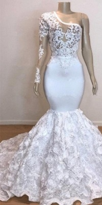 One Shoulder Lace Appliques Meramid Long Prom Dresses Cheap with sleeves_2