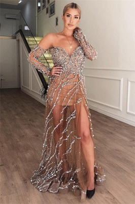 Elegant A-Line Sweetheart Off The Shoulder Crystal Appliques Tulle Prom Dresses_1
