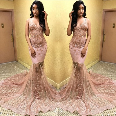 Sexy Pink Sleeveless Spaghetti Straps Tulle Appliques Mermaid Prom Dresses_2