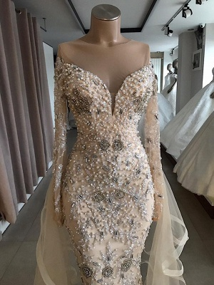 Luxury Long Sleeve Off The Shoulder Long Prom Dresses Cheap with Full Beads_3