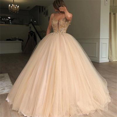 Glamorous Ball Gown Spaghetti Straps Sleeveless Beaded Champagne Wedding Dresses_3