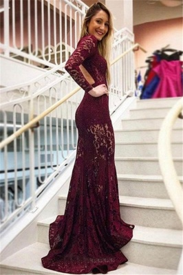 Gorgeous Mermaid Lace High Neck Long Sleeves Prom Dresses_2