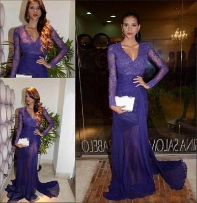 Glamorous Sheath V-Neck Long Sleeves Tulle Applique Prom Dresses_2
