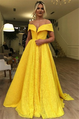 Yellow  A-Line Off The Shoulder Lace  Evening Dresses_1