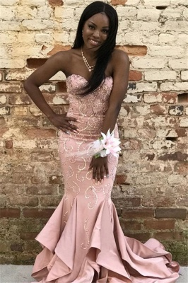 Gorgeous Pink Mermaid Strapless Ruffles Crystal Prom Dresses_1