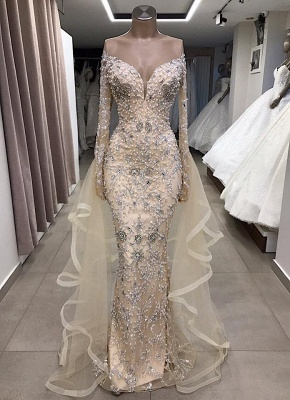 Luxury Long Sleeve Off The Shoulder Long Prom Dresses Cheap with Full Beads_1