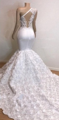 One Shoulder Lace Appliques Meramid Long Prom Dresses Cheap with sleeves_5