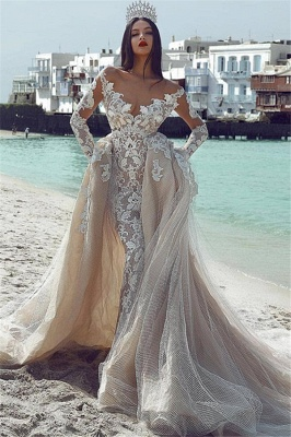 Glamorous V-Neck Long Sleeves Tulle Applique Wedding Dresses with Overskirt_1