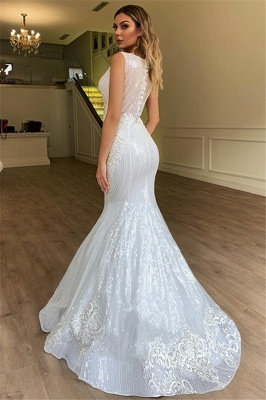 New Arrival Mermaid Sleeveless Cheap Wedding Dresses | Appliques Sparkling Bridal Gowns Online_2