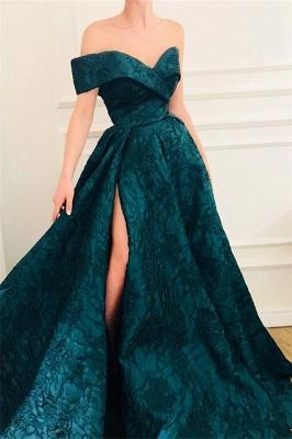 CHeap A-Line Off The Shoulder Lace Evening Dresses_1