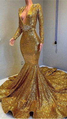 Gorgeous Mermaid Sequins Long Sleeve Floor Length Long Prom Dresses Cheap_3