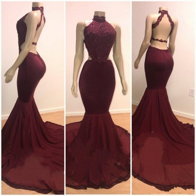 Lace Top High Neck Evening Gowns | Mermaid Burgundy Long Prom Dresses Cheap_3