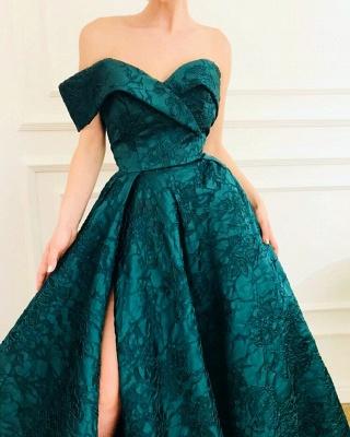 CHeap A-Line Off The Shoulder Lace Evening Dresses_3
