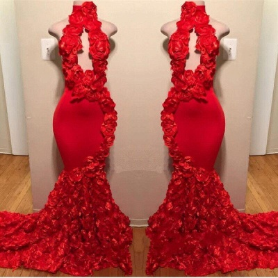 Sexy Flowers Halter Sleeveless Long Prom Dresses   2019 Red Keyhole Mermaid Evening Gowns_2