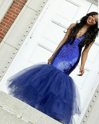 Sexy Navy Blue Mermaid Sequins Prom Dresses | Cheap Tulle Sleeveless V-Neck Evening Dresses_4