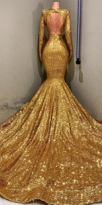 Gorgeous Mermaid Sequins Long Sleeve Floor Length Long Prom Dresses Cheap_4