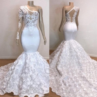 One Shoulder Lace Appliques Meramid Long Prom Dresses Cheap with sleeves_6