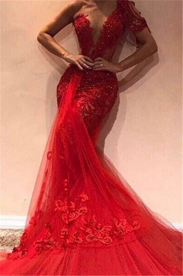 Gorgeous Mermaid One Shoulder Tulle Appliques Prom Dresses_1
