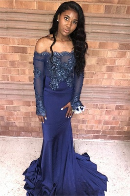 Navy Blue Appliques Long Sleeveless Prom Dresses | Sexy Off The Shoulder Mermaid Evening Gowns_3
