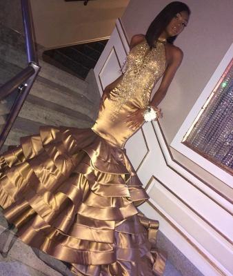 Glamorous Gold Mermaid High Neck Sleeveless Ruffles Crystal Prom Dresses_2