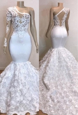 One Shoulder Lace Appliques Meramid Long Prom Dresses Cheap with sleeves_1