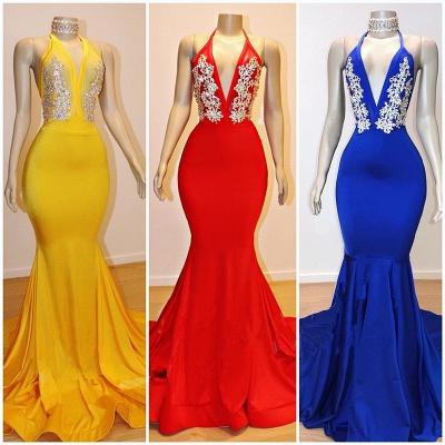 2021 Cheap V-Neck Mermaid Appliques Prom Dresses   Elegant Halter Sleeveless Evening Dresses_2