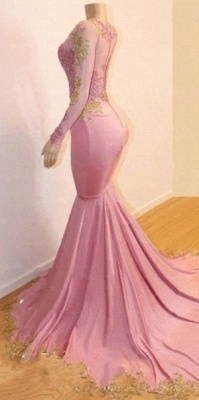 Pink Appliques Long Sleeve Long Prom Dresses Cheap | New Arrival Gorgeous Mermaid Evening Gowns_3