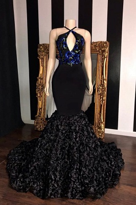 Black Sleeveless Flowers Mermaid Long Prom Dresses Cheap | Elegant Halter Sequins Appliques Evening Gowns_1
