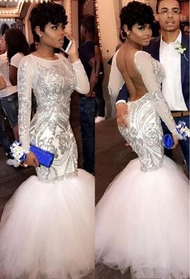 ROSEMARIE | Mermaid Long Sleeves Floor Length Sequined Patterns Tulle Prom Dresses_1