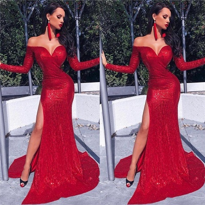 Charming Long Sleeves Sheath Front Split Prom Dress_3