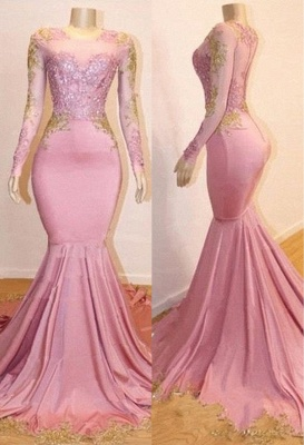 Pink Appliques Long Sleeve Long Prom Dresses Cheap | New Arrival Gorgeous Mermaid Evening Gowns_1
