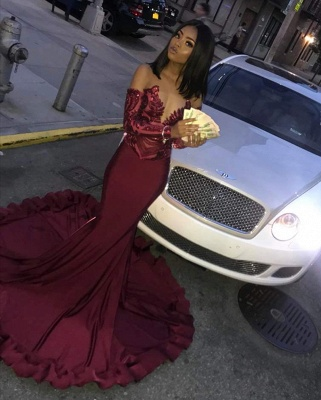Sexy Burgundy Sequins Mermaid Prom Dresses | Cheap Long Sleeves Evening Dresses On Sale_4
