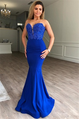 Glamorous Mermaid Sweetheart Sleeveless Appliques Prom Dresses_1