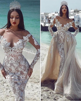 Glamorous V-Neck Long Sleeves Tulle Applique Wedding Dresses with Overskirt_2