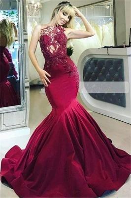 Burgundy Gorgeous Sheer Straps Applique Mermaid Prom Dresses_1