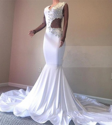 Crystal Beading White V-neck Sweep Train Mermaid Evening Gowns_3
