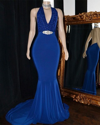 Sexy Halter Sleeveless Mermaid Prom Dresses | 2020 V-Neck Appliques Crystal Evening Gowns_2