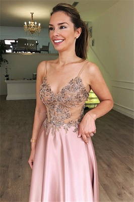 Gorgeous Spaghetti Straps Sleeveless Beaded Pink Prom Dresses_2