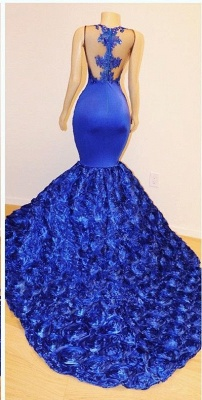 New Arrival Royal Blue Flowers Mermaid Evening Gowns | Glamorous Sleeveless With lace Appliques Long Prom Dresses Cheap_3