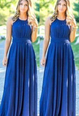 Ocean Blue Halter Chiffon Cheap Bridesmaid Dresses |  Open Back Floor-length Bridesmaid Dresses_1