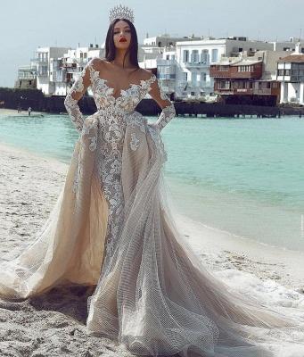 Glamorous V-Neck Long Sleeves Tulle Applique Wedding Dresses with Overskirt_3
