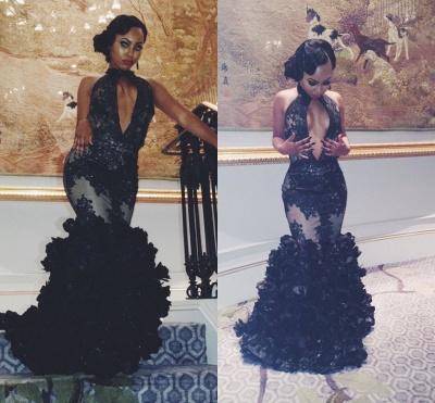 High-Neck Sleeveless Black Backless Lace Sexy Ruffles Keyhole Prom Dress BA4801_4