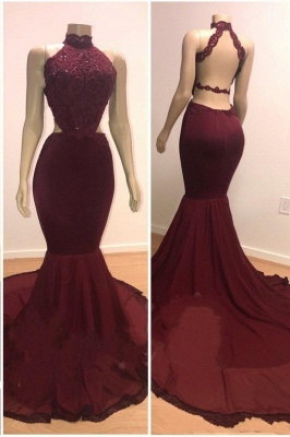 Lace Top High Neck Evening Gowns | Mermaid Burgundy Long Prom Dresses Cheap_1