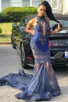 Cheap Mermaid Sleeveless High Neck Applique Prom Dresses_2