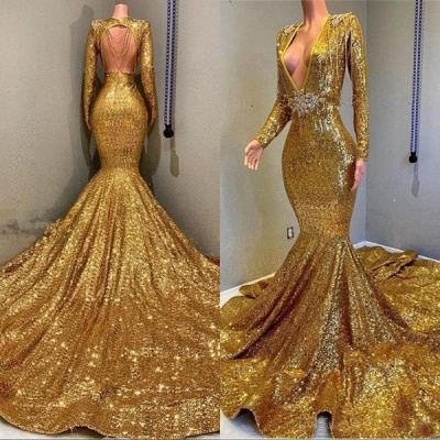 Gorgeous Mermaid Sequins Long Sleeve Floor Length Long Prom Dresses Cheap_5