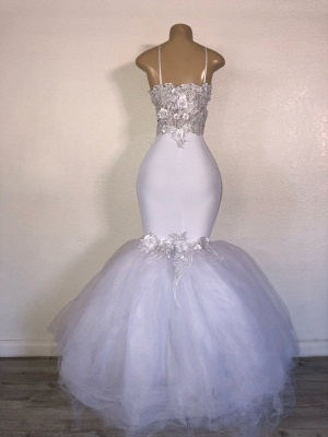 Mermaid Tulle Spaghetti Straps Flowers Appliques White Prom Dresses Cheap_2